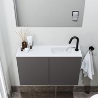 zaro Polly toiletmeubel 80cm donkergrijs met witte wastafel met kraangat rechts