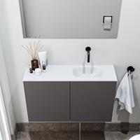 zaro Polly toiletmeubel 80cm donkergrijs met witte wastafel zonder kraangat rechts