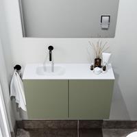 zaro Polly toiletmeubel 80cm army met witte wastafel zonder kraangat links