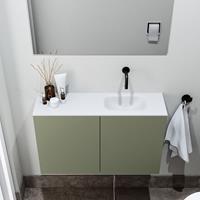 zaro Polly toiletmeubel 80cm army met witte wastafel zonder kraangat rechts