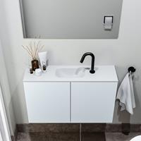 zaro Polly toiletmeubel 80cm clay met witte wastafel met kraangat
