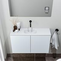 zaro Polly toiletmeubel 80cm clay met witte wastafel zonder kraangat