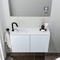 zaro Polly toiletmeubel 80cm clay met witte wastafel met kraangat links