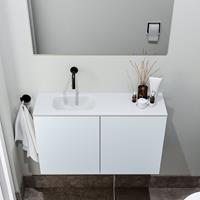 zaro Polly toiletmeubel 80cm clay met witte wastafel zonder kraangat links