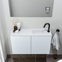 zaro Polly toiletmeubel 80cm clay met witte wastafel met kraangat rechts
