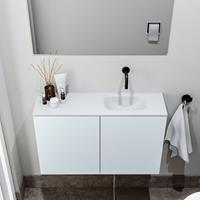 zaro Polly toiletmeubel 80cm clay met witte wastafel zonder kraangat rechts