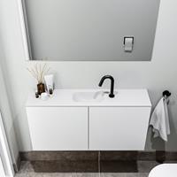 zaro Polly toiletmeubel 100cm mat wit met witte wastafel met kraangat