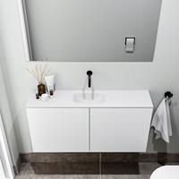 zaro Polly toiletmeubel 100cm mat wit met witte wastafel zonder kraangat