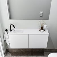 zaro Polly toiletmeubel 100cm mat wit met witte wastafel met kraangat links
