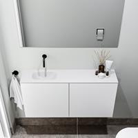 zaro Polly toiletmeubel 100cm mat wit met witte wastafel zonder kraangat links