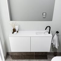 zaro Polly toiletmeubel 100cm mat wit met witte wastafel met kraangat rechts