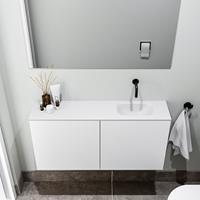 zaro Polly toiletmeubel 100cm mat wit met witte wastafel zonder kraangat rechts