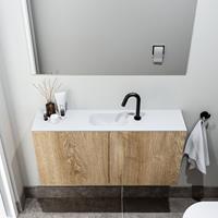 zaro Polly toiletmeubel 100cm eiken met witte wastafel met kraangat