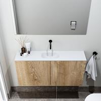 zaro Polly toiletmeubel 100cm eiken met witte wastafel zonder kraangat
