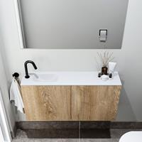 zaro Polly toiletmeubel 100cm eiken met witte wastafel met kraangat links