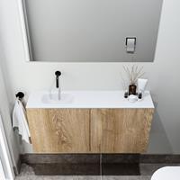 zaro Polly toiletmeubel 100cm eiken met witte wastafel zonder kraangat links