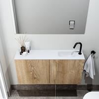 zaro Polly toiletmeubel 100cm eiken met witte wastafel met kraangat rechts
