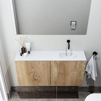 zaro Polly toiletmeubel 100cm eiken met witte wastafel zonder kraangat rechts