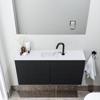 zaro Polly toiletmeubel 100cm mat zwart met witte wastafel met kraangat