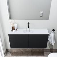 zaro Polly toiletmeubel 100cm mat zwart met witte wastafel zonder kraangat