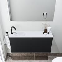 zaro Polly toiletmeubel 100cm mat zwart met witte wastafel met kraangat links