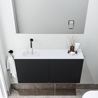 zaro Polly toiletmeubel 100cm mat zwart met witte wastafel zonder kraangat links