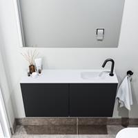 zaro Polly toiletmeubel 100cm mat zwart met witte wastafel met kraangat rechts