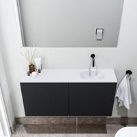 zaro Polly toiletmeubel 100cm mat zwart met witte wastafel zonder kraangat rechts