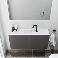 zaro Polly toiletmeubel 100cm donkergrijs met witte wastafel met kraangat