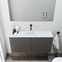 zaro Polly toiletmeubel 100cm donkergrijs met witte wastafel zonder kraangat