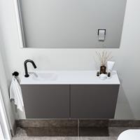 zaro Polly toiletmeubel 100cm donkergrijs met witte wastafel met kraangat links