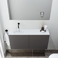 zaro Polly toiletmeubel 100cm donkergrijs met witte wastafel zonder kraangat links