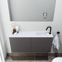 zaro Polly toiletmeubel 100cm donkergrijs met witte wastafel met kraangat rechts