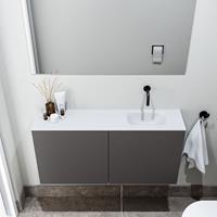 zaro Polly toiletmeubel 100cm donkergrijs met witte wastafel zonder kraangat rechts