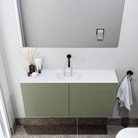 zaro Polly toiletmeubel 100cm army met witte wastafel zonder kraangat