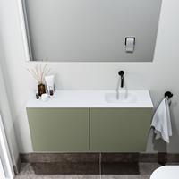 zaro Polly toiletmeubel 100cm army met witte wastafel zonder kraangat rechts