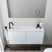 zaro Polly toiletmeubel 100cm clay met witte wastafel met kraangat links