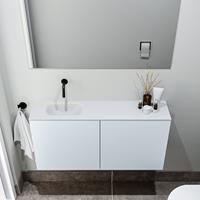 zaro Polly toiletmeubel 100cm clay met witte wastafel zonder kraangat links