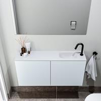 zaro Polly toiletmeubel 100cm clay met witte wastafel met kraangat rechts