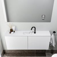 zaro Polly toiletmeubel 120cm mat wit met witte wastafel met kraangat