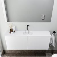 zaro Polly toiletmeubel 120cm mat wit met witte wastafel zonder kraangat