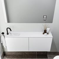 zaro Polly toiletmeubel 120cm mat wit met witte wastafel met kraangat links