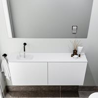 zaro Polly toiletmeubel 120cm mat wit met witte wastafel zonder kraangat links