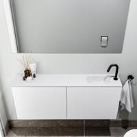 zaro Polly toiletmeubel 120cm mat wit met witte wastafel met kraangat rechts