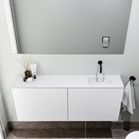 zaro Polly toiletmeubel 120cm mat wit met witte wastafel zonder kraangat rechts