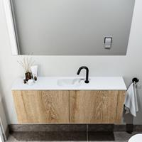 zaro Polly toiletmeubel 120cm eiken met witte wastafel met kraangat