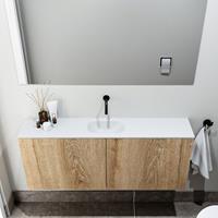 zaro Polly toiletmeubel 120cm eiken met witte wastafel zonder kraangat