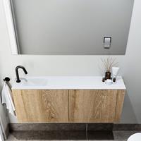 zaro Polly toiletmeubel 120cm eiken met witte wastafel met kraangat links