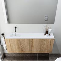 zaro Polly toiletmeubel 120cm eiken met witte wastafel zonder kraangat links