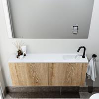 zaro Polly toiletmeubel 120cm eiken met witte wastafel met kraangat rechts